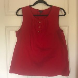 Talbots Red Sleeveless top with insect buttons